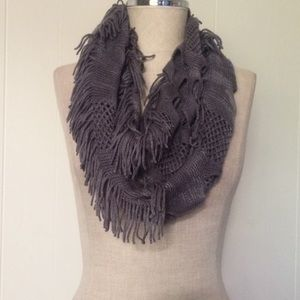 Knit Charcoal Fringe Infinity Scarf